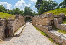 Ruins in Ancient Olympia, Elis, Greece. The entrance in ancient Olympia Stadium in Ancient Olympia, Peloponnes, Greece stock image