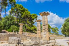 Ruins in Ancient Olympia, Elis, Greece. Ancient Temple of Goddess Hera in Ancient Olympia, Peloponnes, Greece stock image