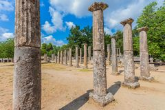 Ruins in Ancient Olympia, Peloponnes, Greece. Ruins in Ancient Olympia, Elis, Greece royalty free stock photography