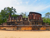 Ruins of Ancient Pagoda at Anuradhapura, Sri Lanka Stock Photo