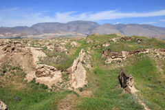 The ruins of Ancient Panjekent near modern Penjikent city, Tajikistan Royalty Free Stock Photography