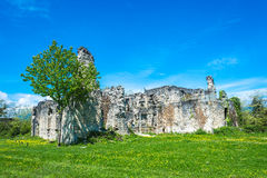 The ruins of the ancient princely Palace in the village of Lykhn Stock Photography