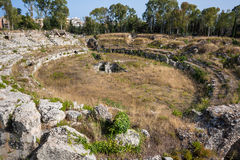 Ruins of ancient Roman ampheteater in Syracuse, Sicily Stock Images