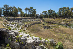 Ruins of ancient Roman ampheteatre in Syracuse Stock Photography