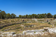 Ruins of ancient Roman ampheteatre in Syracuse Royalty Free Stock Photo