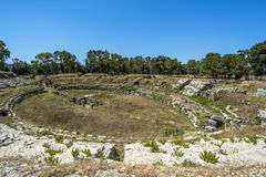 Ruins of ancient Roman ampheteatre in Syracuse Stock Images