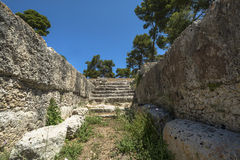 Ruins of ancient Roman ampheteatre in Syracuse Stock Photos