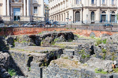 Ruins of ancient roman amphitheater, Catania Stock Photo