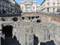 Ruins on ancient roman amphitheater in Catania Stock Photo