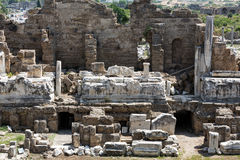 The ruins of  ancient Roman amphitheatre in Side Royalty Free Stock Photo