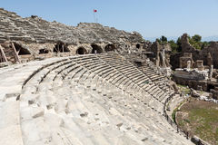 The ruins of  ancient Roman amphitheatre in Side Royalty Free Stock Photography