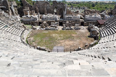 The ruins of  ancient Roman amphitheatre in Side Stock Photo