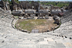 The ruins of  ancient Roman amphitheatre in Side. Stock Photography
