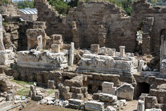 The ruins of  ancient Roman amphitheatre in Side. Stock Photo