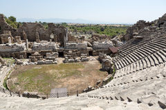 The ruins of  ancient Roman amphitheatre in Side. Royalty Free Stock Photo