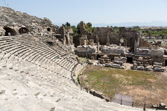The ruins of  ancient Roman amphitheatre in Side. Stock Photos