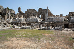 The ruins of  ancient Roman amphitheatre in Side. Royalty Free Stock Photography