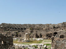 The ruins of  ancient Roman amphitheatre in Side. Royalty Free Stock Image