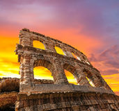 The ruins of the ancient Roman arena Royalty Free Stock Photos