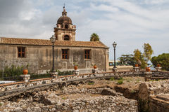 Ruins of the ancient Roman baths in the historic centre of Taormina Stock Photography