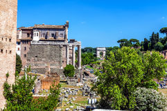 The ruins of ancient Roman buildings in the Roman Forum Stock Photography