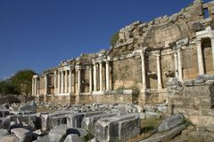 The ruins of an ancient Roman city in Side. Turkey. royalty free stock photography