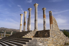 The ruins of the ancient Roman city of Volubilis, Morocco Royalty Free Stock Photos