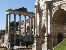 Ruins of an ancient Roman forum Stock Photos