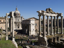 Ruins of an ancient Roman forum stock photography