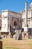 Ruins of the ancient Roman Forum including the Arch of Septimius Royalty Free Stock Photography
