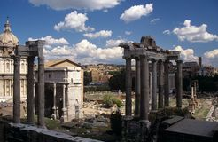 Ruins of the ancient Roman Forum in Rome, Italy. Stock Photos