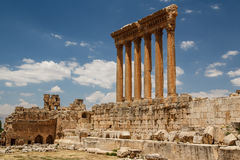 Ruins of the ancient Roman sacred site Baalbek Royalty Free Stock Photography