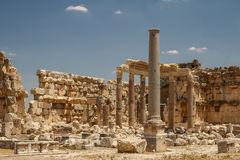 Ruins of the ancient Roman sacred site Baalbek Royalty Free Stock Photo