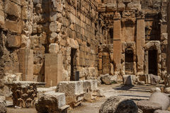 Ruins of the ancient Roman sacred site Baalbek Royalty Free Stock Photos