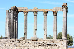 Ruins of ancient Roman Temple of Evora, Portugal. The Roman Temple of Evora or the Templo de Diana, the ancient Roman goddess of the moon, the hunt, and chastity Stock Photos
