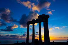 Ruins of an ancient Roman temple during sunset Stock Image