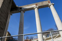 Ruins of Ancient Roman theater of Philippopolis in city of Plovdiv, Bulgaria. Amazing ruins of Ancient Roman theater of Philippopolis in city of Plovdiv stock image