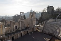 Ruins of Ancient Roman theater of Philippopolis in city of Plovdiv, Bulgaria. Amazing ruins of Ancient Roman theater of Philippopolis in city of Plovdiv royalty free stock photos