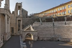 Ruins of Ancient Roman theater of Philippopolis in city of Plovdiv, Bulgaria. Amazing ruins of Ancient Roman theater of Philippopolis in city of Plovdiv royalty free stock photo