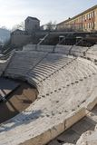 Ruins of Ancient Roman theater of Philippopolis in city of Plovdiv, Bulgaria. Amazing ruins of Ancient Roman theater of Philippopolis in city of Plovdiv stock photos