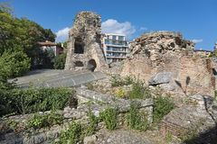 Ruins of the Ancient Roman Thermae in Varna, Bulgaria. It was a public baths built in the late 2nd century AD in the Ancient Roman city of Odessus, Odessos in stock photos