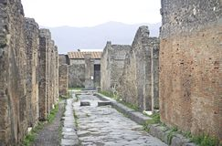 Ruins of ancient roman town of Pompei Royalty Free Stock Image
