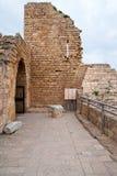 Ruins of the ancient Romanian harbor. Caesarea, Israel Stock Photo