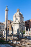 The ruins of ancient Rome. Column of Trajan's forum and the ruins of ancient Rome Royalty Free Stock Photos