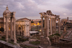 Ruins of ancient Rome and Constantine's arch Royalty Free Stock Image