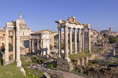 Ruins of ancient Rome preserved. Stock Photos
