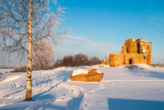 Ruins of ancient Rurik settlement. The ruins of the church and memorial stone of the ancient Rurik settlement, Novgorod Oblast Stock Photography