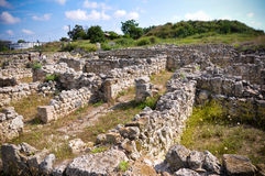 The ruins of the ancient settlement . The ruins of the ancient settlement Chersonesos Taurica royalty free stock image