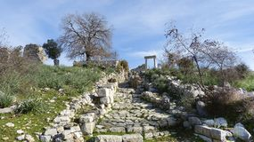 The ruins of ancient stairs in Kaunos. Royalty Free Stock Photography