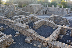 Ruins of an ancient synagogue in the archaeological park of Katz Stock Photography